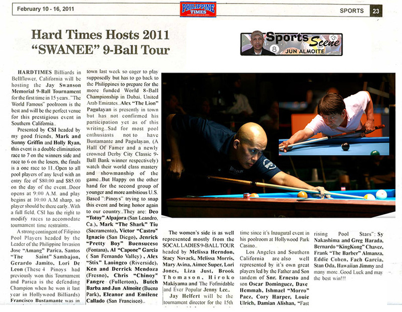 Hard Times Host swanee 9 ball tournament