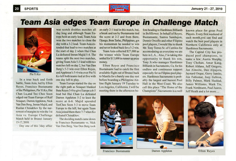 Team asia europe Pin Yi ko Fansisco bustamante darren appleton efren reyes